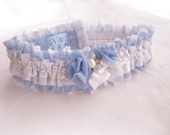 BOXED Light blue chiffon ivory lace personalized wedding bridal vintage inspired garter