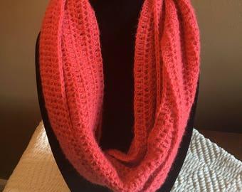 Watermelon Mohair Handmade Crochet Infinity Scarf