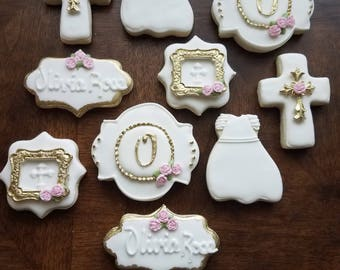 Baptism Sugar Cookies, communion sugar cookies, white and pink baptism cookies, white christening cookies, girl communion cookies