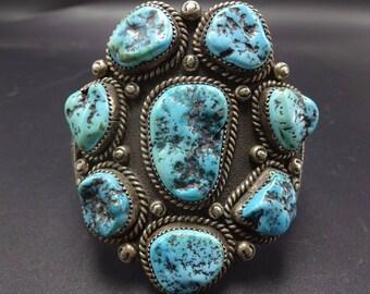 BIG Signed Vintage NAVAJO Sterling Silver & Turquoise Cluster Cuff BRACELET 116g
