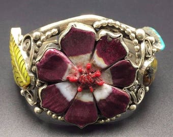 Vintage BOHO Sterling Silver & Carved Gemstone Cuff BRACELET Francisco Gomez