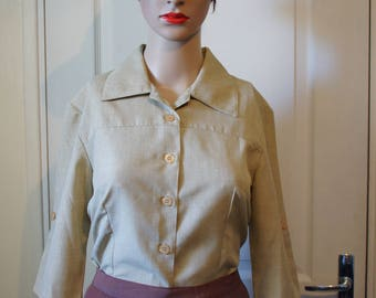 Shirt 3/4 sleeves vintage champagne.  1940s style