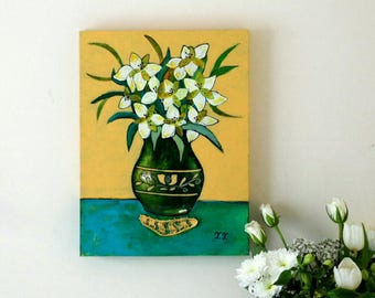 Yellow Painting, Green Vase, Peruvian Lily, Still Life, Nature Mort, Lily Art, White Flowers, Folk Art, Mixed Media Floral Artwork