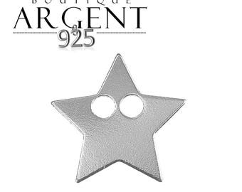 14.3 X 14.2 mm 925 Silver Pendant star with two holes