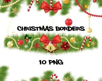 50% SALE Christmas borders, christmas decoration, christmas clipart, xmas clip art, sparkling frames, shiny pearl, christmas tree fir, red b