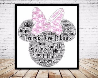 Personalised Word Art Gift Framed Print Minnie Mouse Head Birthday Gift For Her Sister Friend Daughter Auntie Always be a Unicorn