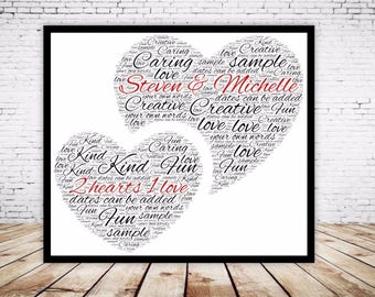 Personalised Word Art Gift Framed 2 Hearts 1 Love, Wedding, Anniversary, Engagement Keepsake Gift