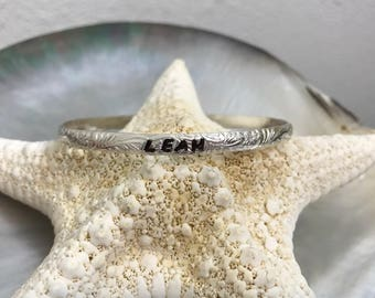 4mm SS patterned bangle custom STAMPED