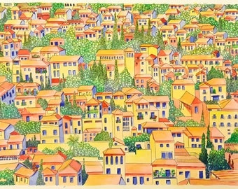 Granada Painting: Sunset Over the Albaicín - Original Painting on Paper