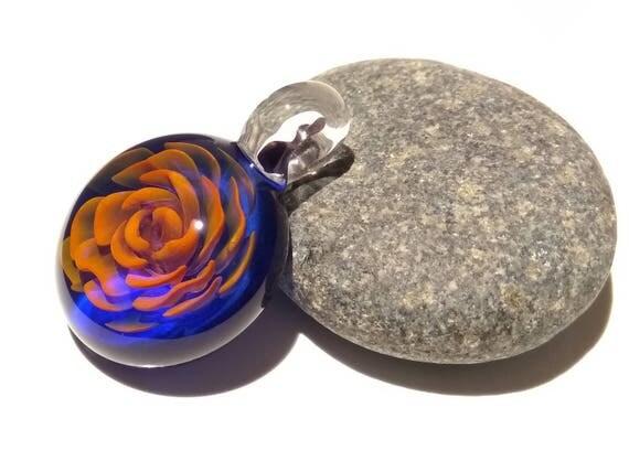 Golden Blue Rose Pendant - Handcrafted Glass Pendant - Glass Art - Unique Necklace - Blown Glass Jewelry - Glass Flower - 24 Karat Pure Gold