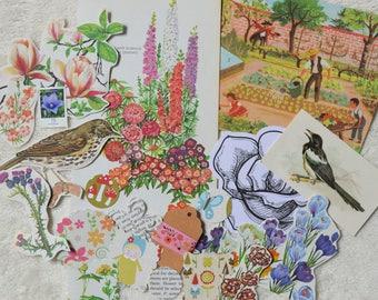 Secret Garden Paper Ephemera Pack, Collage Pack, Garden Flowers, Garden Birds