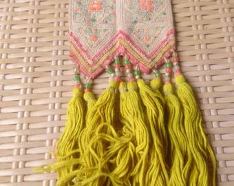 Vintage embroidered Tribal Hmong straps Ethnic Straps Fashion Patch mustard frilly fringe