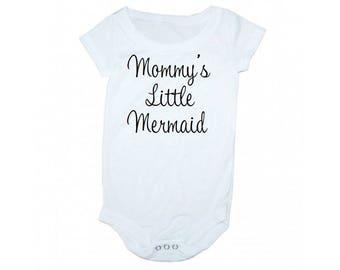 Mommy's little mermaid, Mermaid onsie, mermaid baby clothes, little mermaid onsie, mermaid baby gift, mermaid kids clothing
