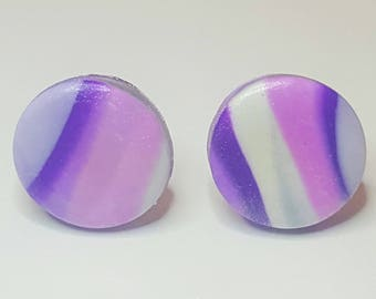Purple and pink marbled clay stud earrings, Statement Earrings, Modern Earrings, Polymer Clay Earrings, Sparkly Earrings, Shimmer Earrings