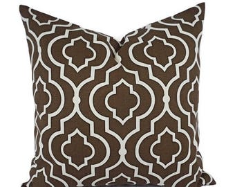 15% OFF SALE Two Decorative Pillow Covers - Brown Cream Pillows - Throw Pillow - Cushion Cover - Accent Pillow - Custom Pillow Cover - Brown
