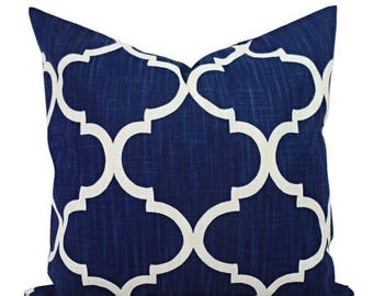 15% OFF SALE Decorative Pillow Covers - Two Navy Quatrefoil Covers - Navy Pillow Cover  - Blue Pillow Cover - Navy Pillows - Zipper Pillow