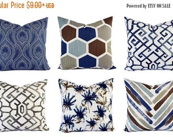 15% OFF SALE Blue Pillow Sham - Brown Pillow Cover - Blue and Brown Throw Pillow Cover - Blue Decorative Pillow Cushion Cover Pillow - Accen