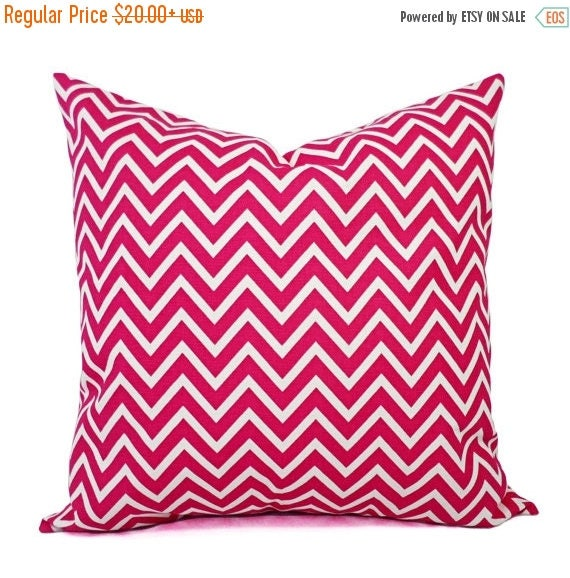 15% OFF SALE Two Chevron Throw Pillow Covers Two Hot Pink and