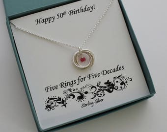 50th Birthday Gift for Women, Birthstone Necklace, Sterling Silver Birthstone Gift, 50th Birthday Necklace,Love Knot Necklace,marciahdesigns