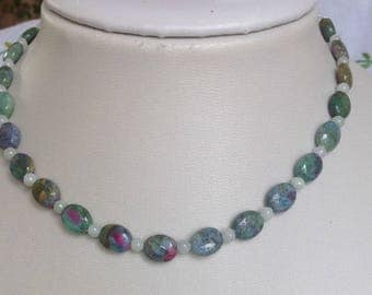 Ruby Zoisite and Jadeite Necklace