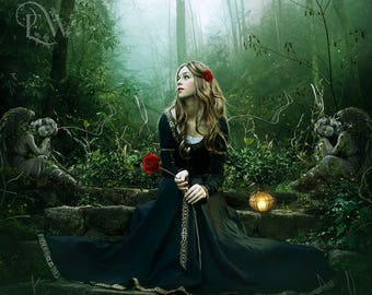 fantasy woman in forest art print