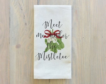 Meet Me Under The Mistletoe Napkin_Christmas, table setting, tableware, place setting, housewarming gift, party, dinner, event