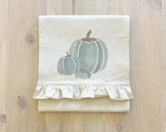 Watercolor Pumpkins Table Runner_table setting, tableware, place setting, housewarming, dinner, event, thanksgiving, fall