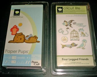 Cricut Cartridge, 2 Cartridges, Paper Pups and Four Legged Friends, New, Blister Pack Sealed