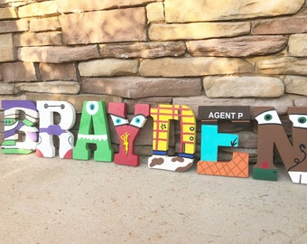 Wooden letters toy story themed initails, name, one letter or number available painted letters
