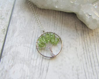 Small Peridot Tree Of Life Pendant - Gemstone Necklace- Silver Plated Green Chips