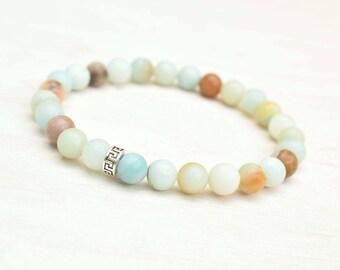 Amazonite bracelet, Yoga bracelet, Gemstone jewelry, Silver bracelet, Amazonite jewelry, Dainty bracelet, Layering bracelet, Blue bracelet
