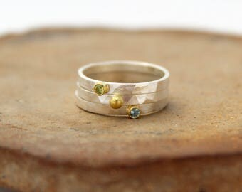 Silver birthstone ring with 18k gold. Silver and gold birthstone ring. Silver stacking rings. Ruby ring Gemstone stacking bands Peridot ring