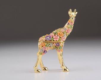 Gold with Colorful Flowers Giraffe Handmade Faberge Styled Trinket Box Handmade by Keren Kopal Enamel Painting