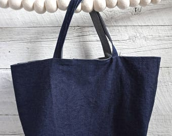 reversible bag,tote, blue /jean or blue/ gray (one of a kind)