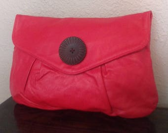 Vintage Red Clutch Purse Handbag Leather Classic Upcycle