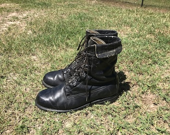 Nicely Worn In Black Combat Boots