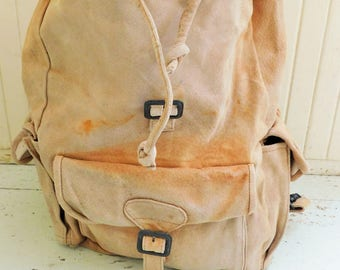 Vintage, Suede, Backpack, Small Rucksack, Overnight Bag