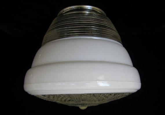 Ceiling Light Cover Only : Schoolhouse ceiling light cover vintage art deco