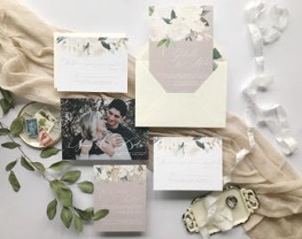 Neutral Floral Wedding Invitation