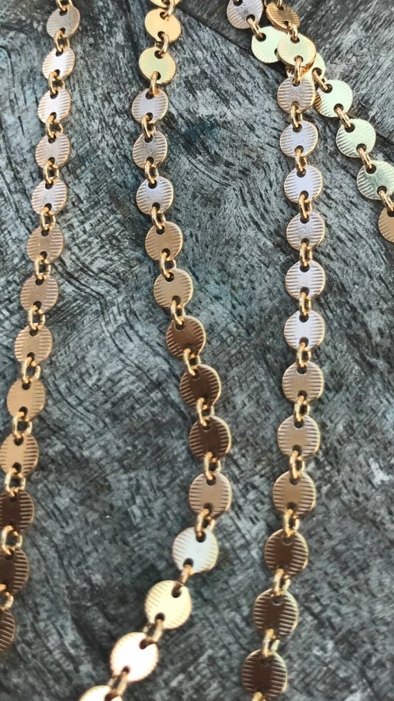 1 Foot Of Textured 14k Gold Filled Modern Disc Sequin