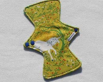 """Cotton Flannel Topped. Reusable Modern Cloth Pad featuring a unicorn print (24cm/9.5"""")"""