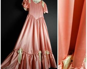 70s Peach Pink Cream Satin bridesmaid dress little bo peep dress fitted bodice full skirt flutter sleeves for girls petite s xs