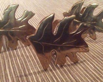 Set Of 4 Leaf Napkin Holders Solid Brass