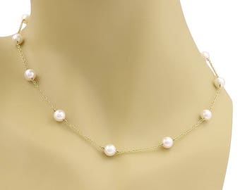 21711 - Mikimoto Akoya Pearls 18k Yellow Gold Chain Necklace
