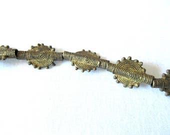 Ghana Brass Bead, Sun Design Baule Beads, Akan Brass Beads, Cast Brass African Trade Bead, Handmade Tribal Bead, 5 Pcs