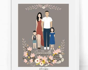 Custom family portrait illustration, DIGITAL  Drawing. Personalized family portrait. Personalized printable card gift art digital customized