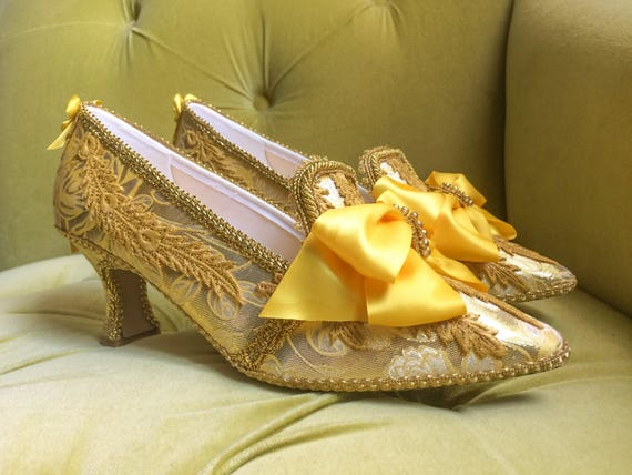 Beauty and the Beast Inspired Belle Heels Shoes Metallic Antique Gold Lace Marie Antoinette Yellow cosplay costume
