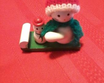 Wooden miniature 2 snowmen ornament
