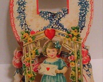SALE - Antique Victorian 3-D Die Cut Valentine Card