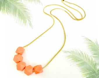 Coral orange gold necklace, chunky beads necklace, geometric beaded necklace, nulika